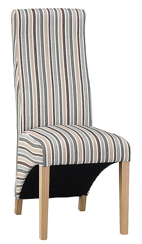 Wave Back Chair - Duck Egg Blue Stripe (Pair)
