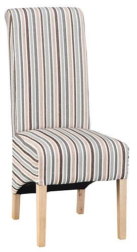 Scroll Back Chair - Duck Egg Blue Stripe (Pair)