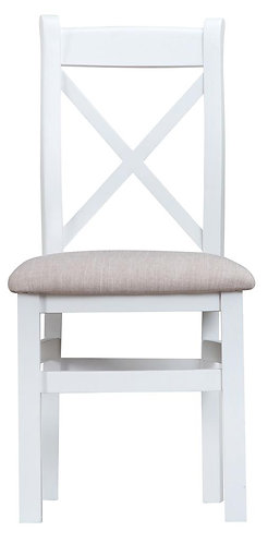 Cross Back Dining Chair w/ Fabric Seat