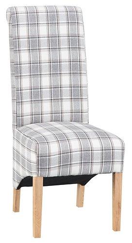Scroll Back Chair - Cappucino Check (Pair)