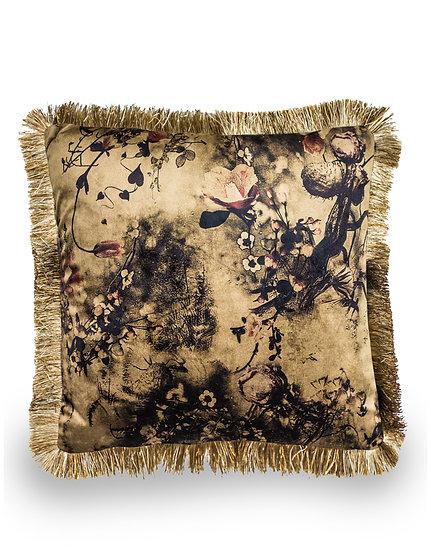 Boho Floral Velvet Cushion Cover with Gold Fringe