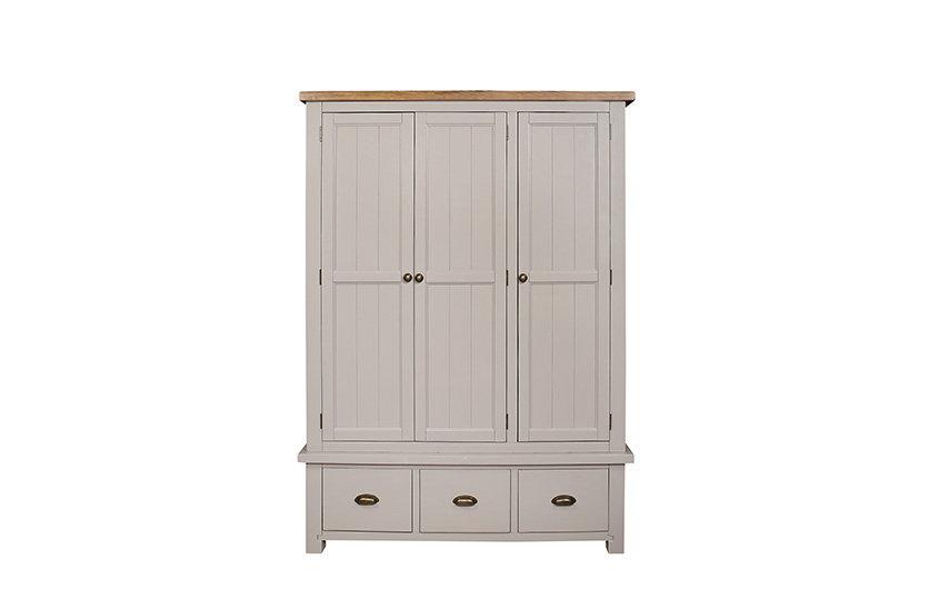 Cotswold Grey 3 Door 3 Drawer Wardrobe