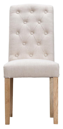 Button Back Upholstered Chair Beige (Pair)