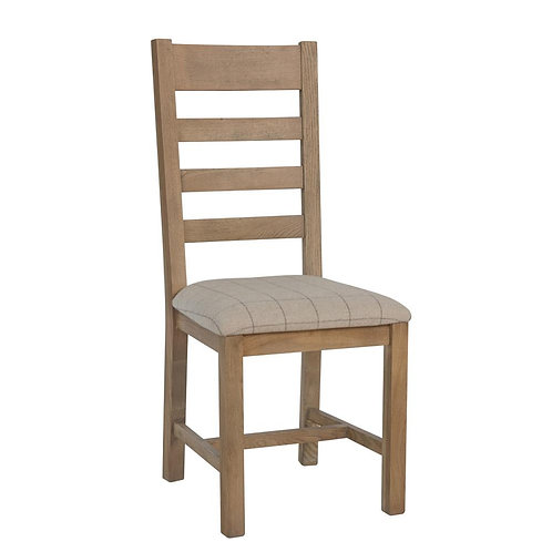 Kentucky Slatted Chair Fabric Seat in Check Natural (Pair)