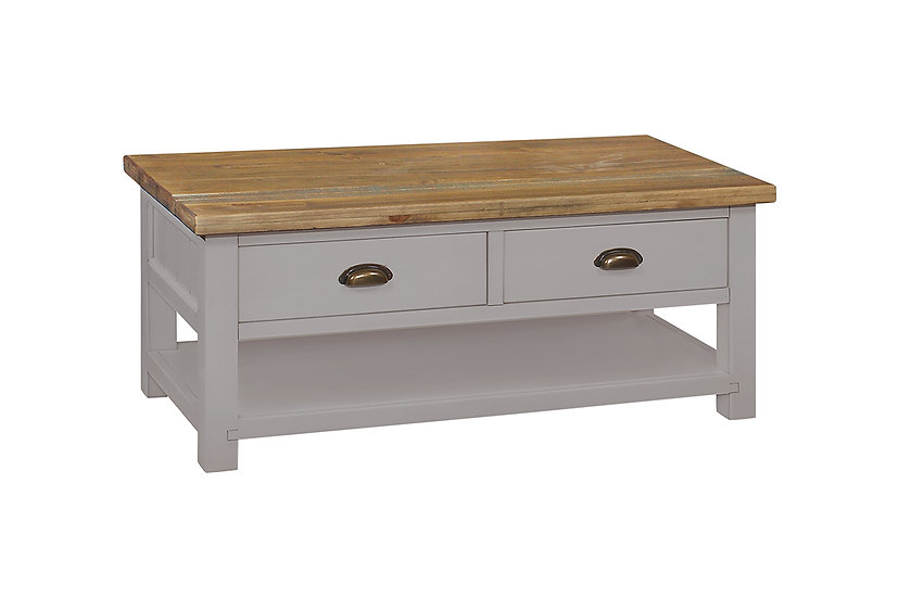 Cotswold Grey Rustic 2 Drawer Coffee Table