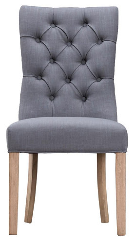 Curved Button Back Chair Grey (Pair)