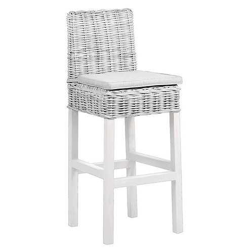 Wyoming Wicker Bar Stool in White Wash with Cushion