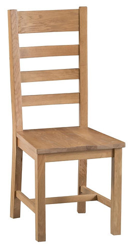 Lowa Ladder Back Dining Chair W/ Wooden Seat (Pair)