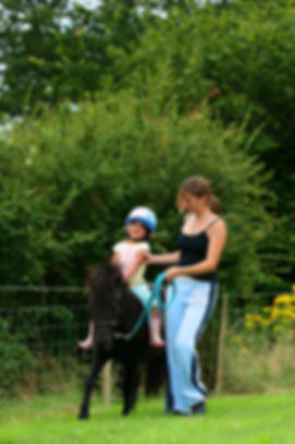 A little girl on a shetland pony being t