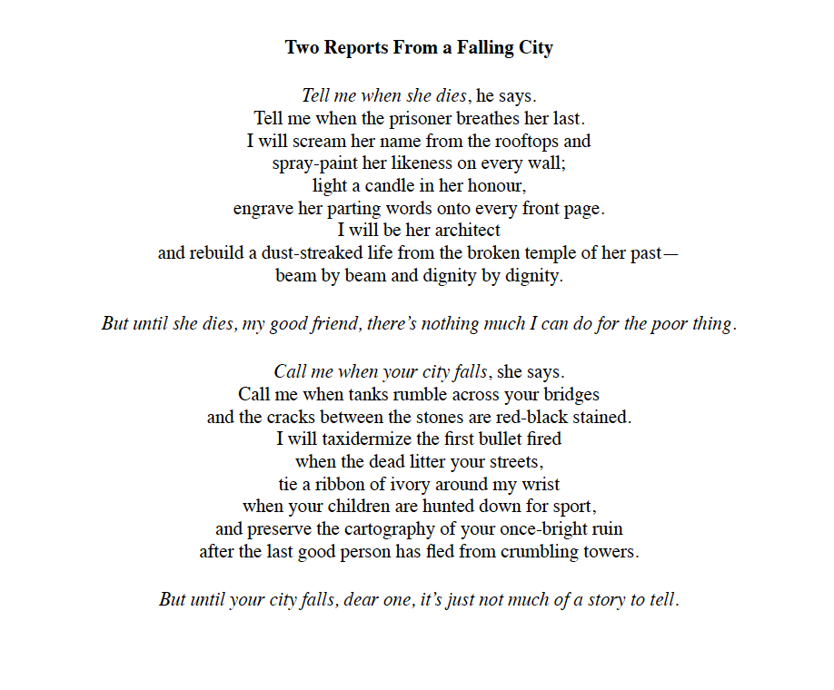 Reports from a Falling City - E. Ma