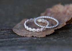 Blumen- & Kugelring - Silber