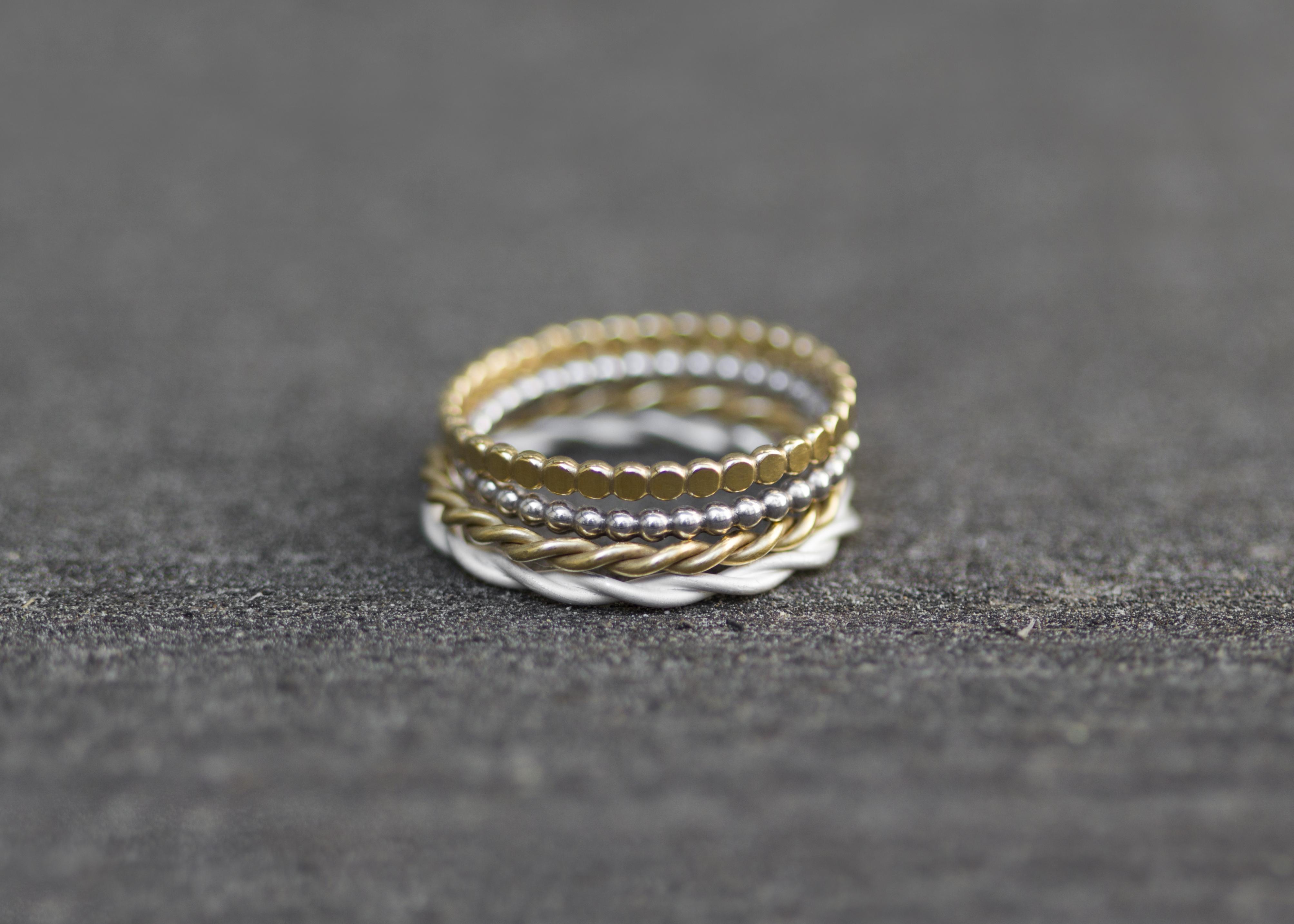 Feine Stapelringe - Gold/Silber