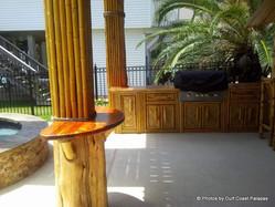 Bamboo wraps and cedar bar tables