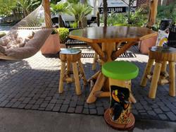 Variety stools w/Cedar table
