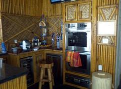 Bamboo decor, woven bamboo backsplash