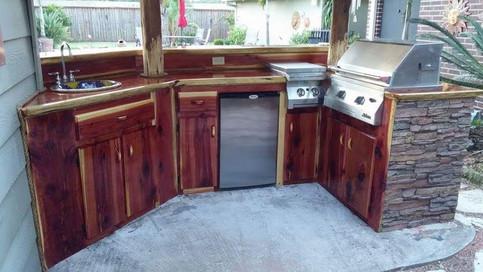 Cedar siding and limestone kitchen