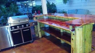 Bamboo bar with cedar shelving