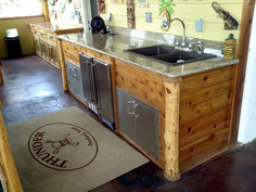 Cedar with marble counter