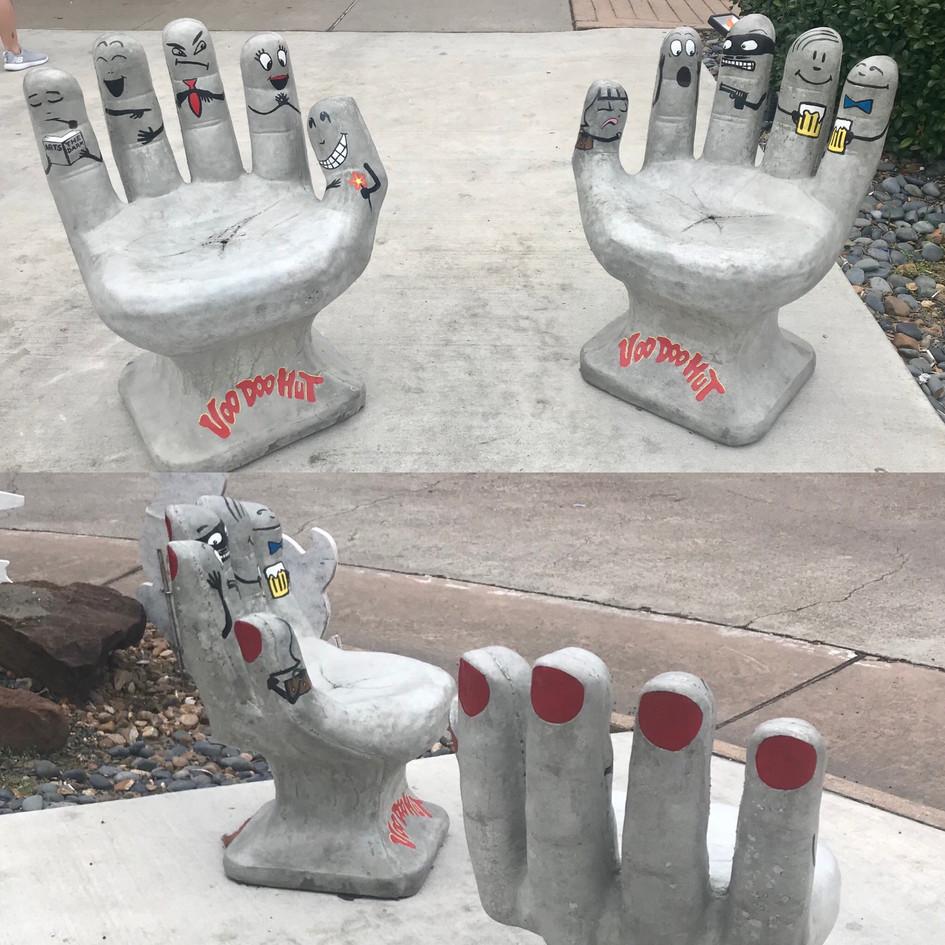 In front of Voo Doo Hut in Kemah Texas! Finger Puppets!