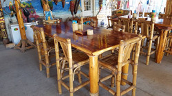 4x8 Cedar table with bamboo chairs