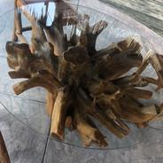 Teak Root Glass Kitchen Table