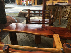 Cedar double wide chairs with table