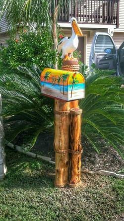 Painted Beach scene w/Pelican