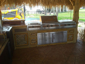 Outdoor Kitchen with bamboo siding