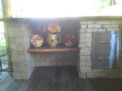 limestone and cedar shelving