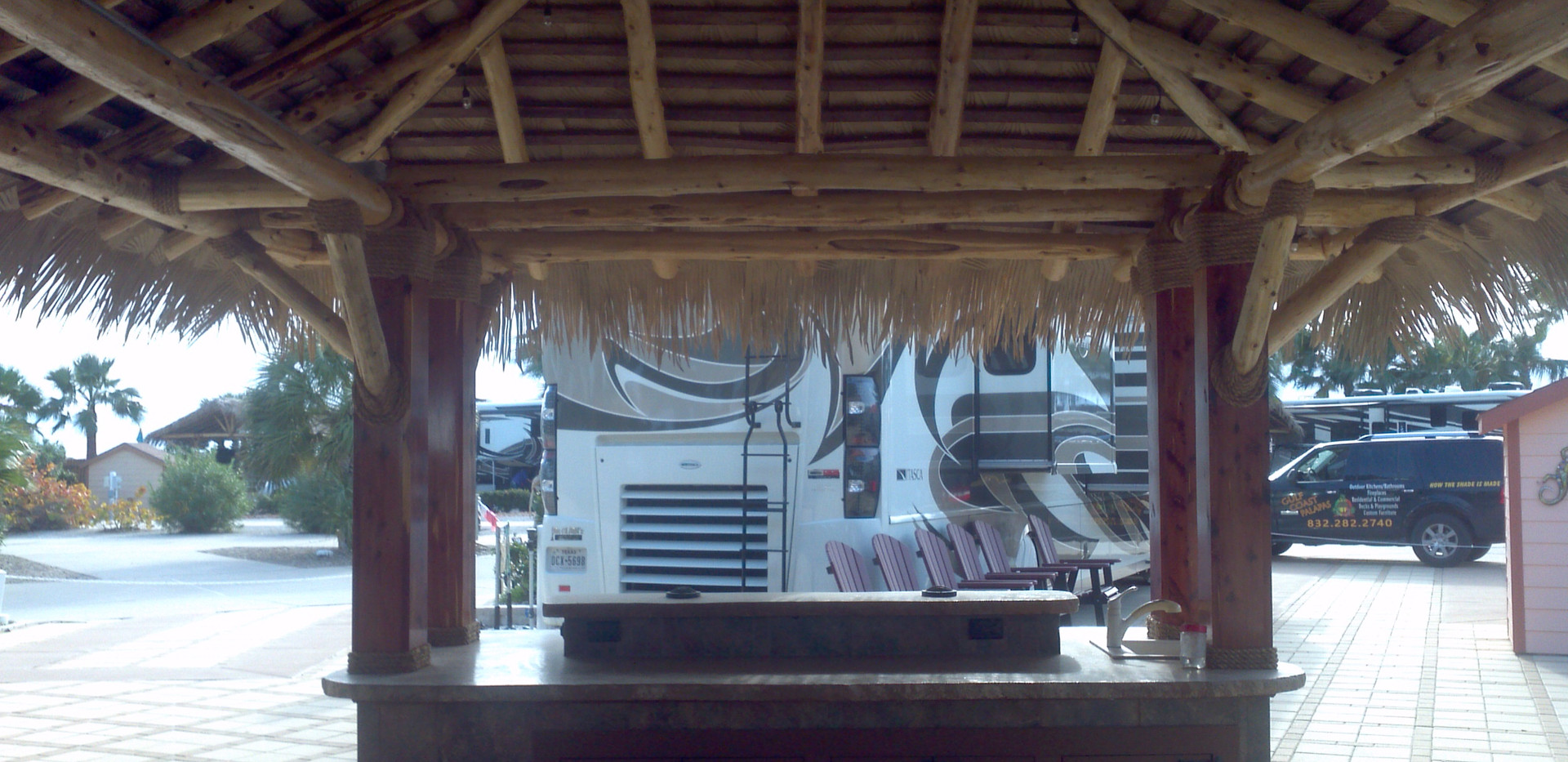 Palapa with treated wood posts