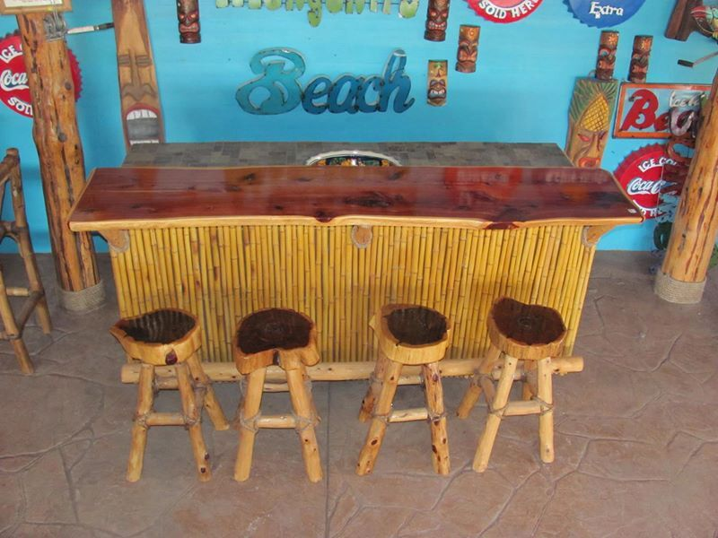 bar with cedar stools