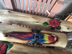 Parrot and Hibiscus Flower carving
