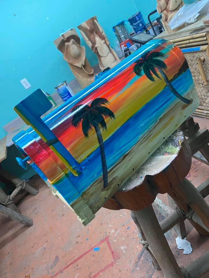 beach scene custom painted