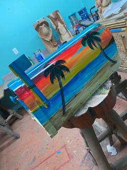 beach scene custom painted