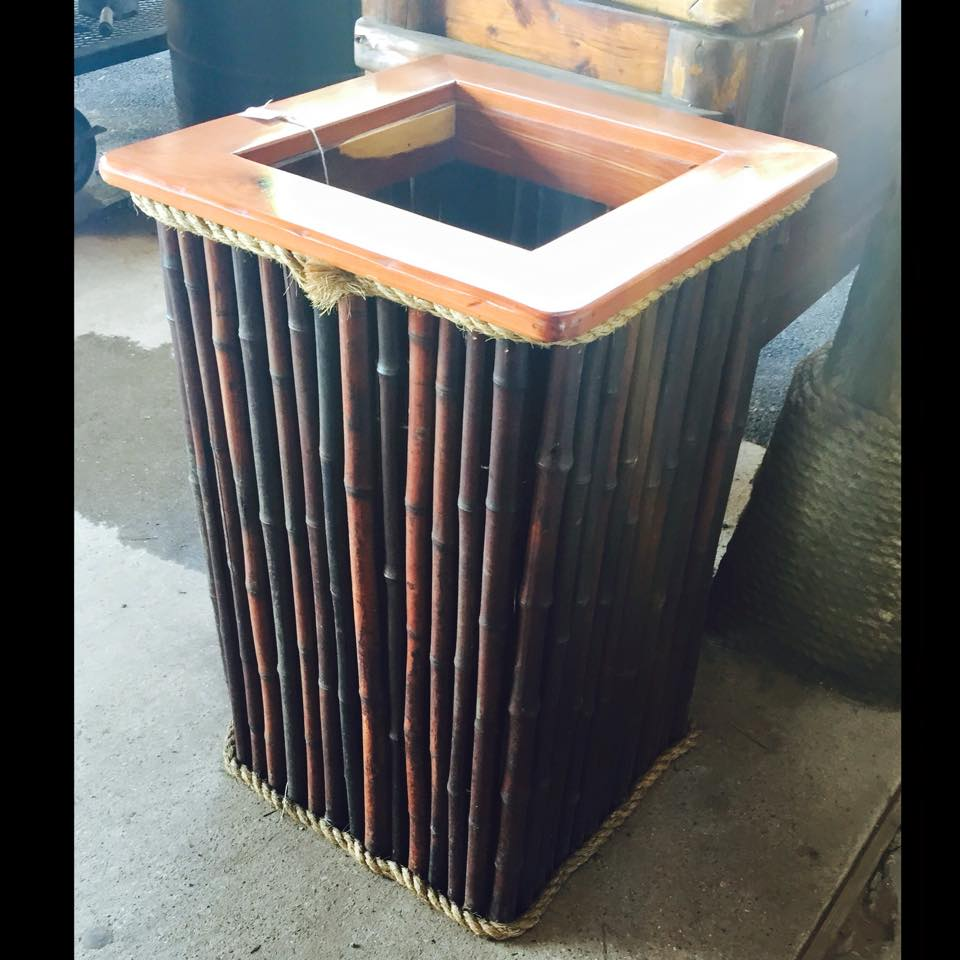 Stained Bamboo Trashcan