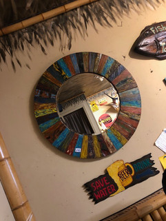 Multicolor Stained wood Mirror