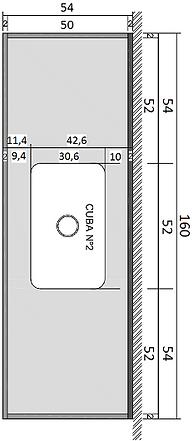 Pia Série Prata - 160 cm