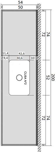 Pia Série Prata - 200 cm