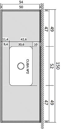 Pia Série Prata - 150 cm