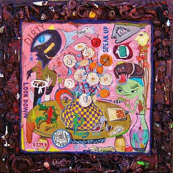 """Aliens and Roses 44"""" x 44"""", framed is wa"""