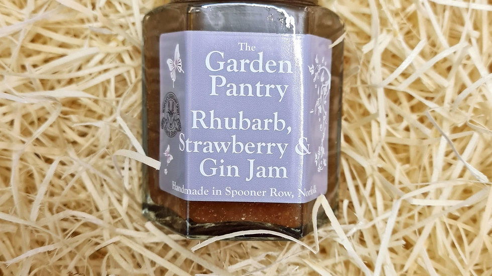 The Garden Pantry Rhubarb Strawberry and Gin Jam
