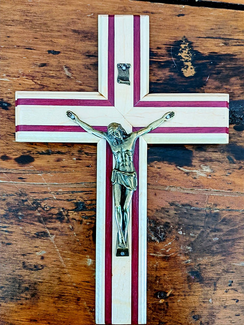 """12"""" x 8"""" Maple & Purple Heart Solid Wood Crucifix with 6"""" Bronze-Toned Corpus"""