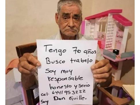 Abuelito pide trabajo para poder cobrar una pensión y su anuncio se hace viral