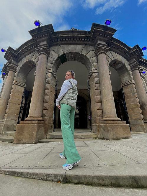 Green n white reversible trousers