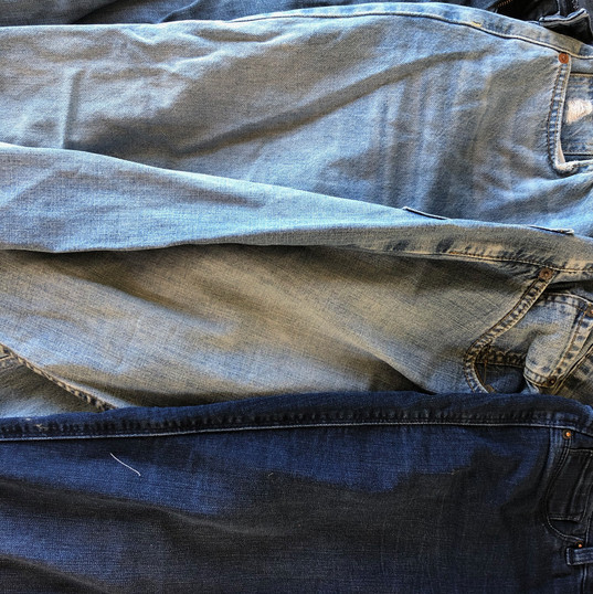 Jeans used for denim pieces