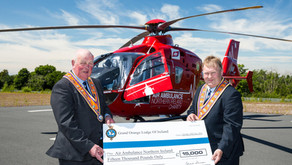 Cheque presented to Air Ambulance