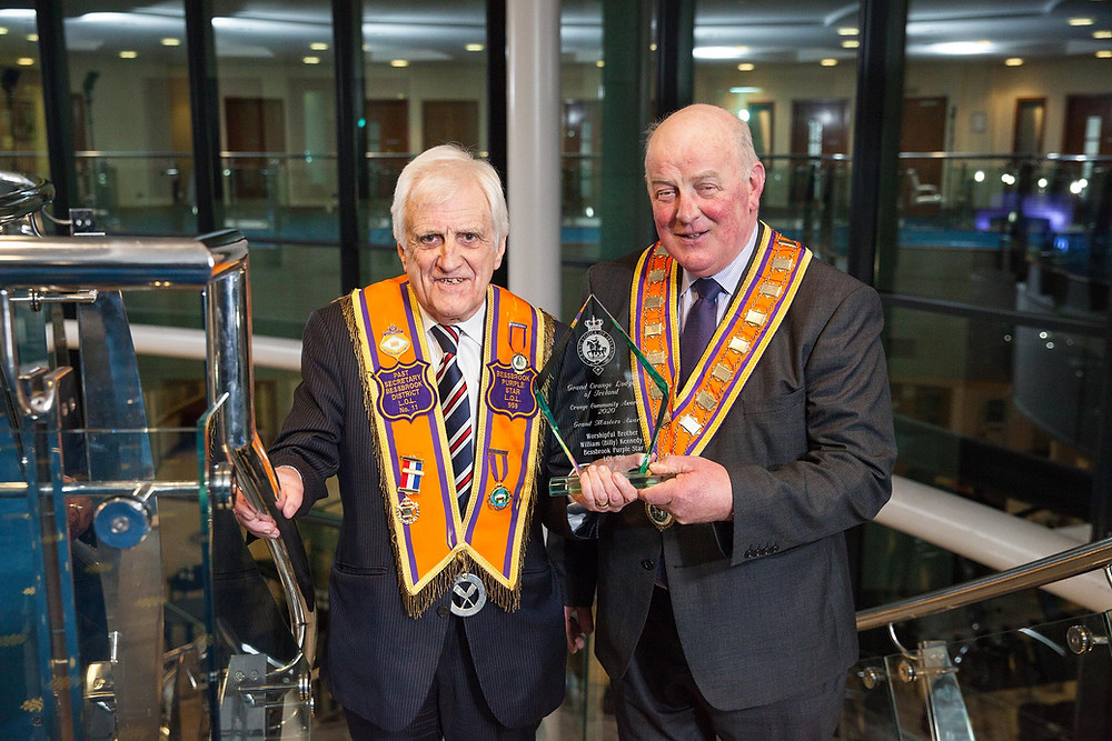 Grand Master's Lifetime Achievement Award winner Bro. Billy Kennedy pictured with the Grand Master of the Grand Orange Lodge of Ireland Wor. Bro. Edward Stevenson. Picture: Graham-Balhaam-Curry.