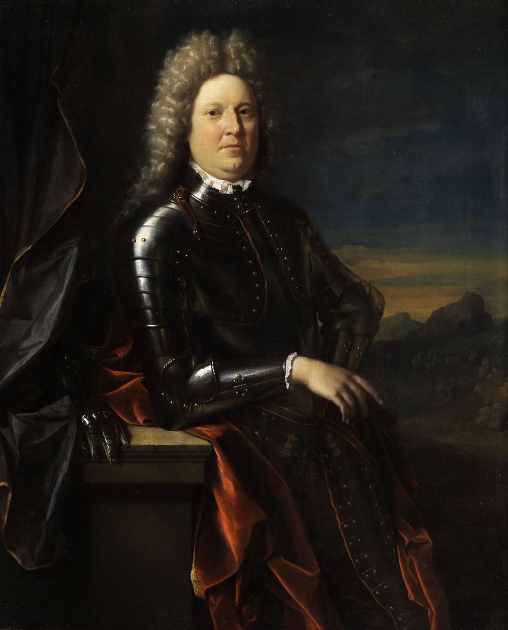 Duke of Schomberg. Portrait Friedrich von Schomberg/Schönberg (1615–1690) by Adriaen van der Werff (1659-1722). Wikimedia Commons.