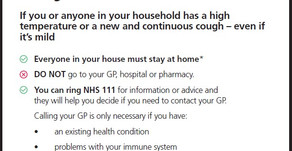 COVID-19 (Coronavirus) - If you have symptoms your household must isolate