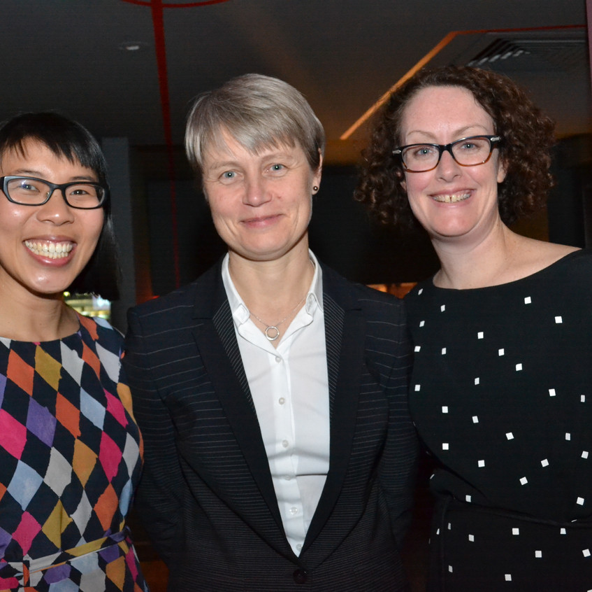 Professor Imogen Mitchell with WIN Conveners Sarah Yong and Lucy Modra
